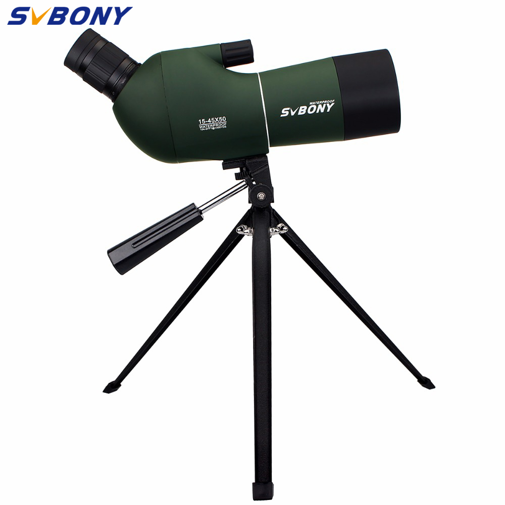 SVBONY SV28 Spotting Scope Zoom 15-45x50mm Waterproof 45 Angled Monocular w/Tripod Soft Case Birdwatching Telescope F9308A visionking 30 90x90 waterproof spotting scope zoom spotting scope full multicoated birdwatching monocular telescope with tripod