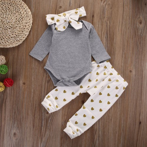2018 baby girl clothes Pure gray long sleeve Bodysuit + Love pants + Headband 3pcs suit newborn baby girl clothing set 1