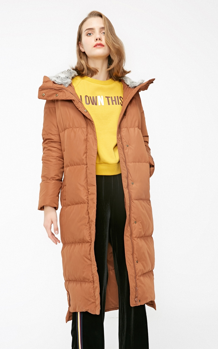 Vero Moda new detachable rabbit fur hooded long down jacket women   318312503 24