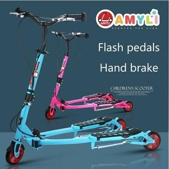 TA05 21st-patinete para niños de 5 a 6 años, Scooter de Pedal doble, triciclo plegable, Monopatin