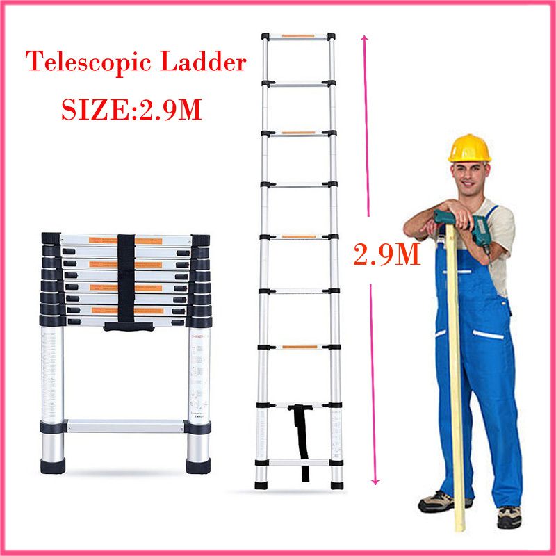 Aluminum ladder alloy stairs High quality aluminum telescopic ladder household stair portable folding ladder 2.9 meters Doorways