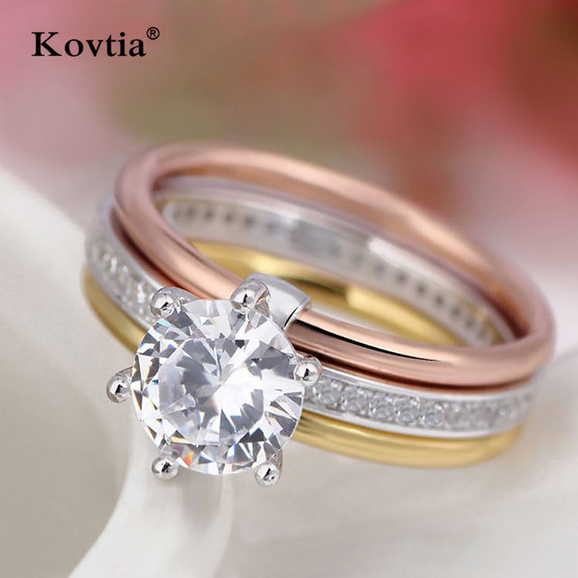 KOVTIA High Quality AAA Cubic Zirconia Wedding Rings For Women Fashion CZ  Jewelry Three In One