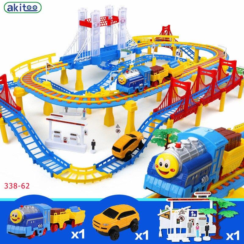 Nouveauté akitoo 338-62 jeu de jouets pour enfants jouet Intelligent avec assemblage modifiable Double couche viaduc jouet de voiture de Rail