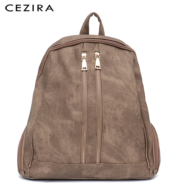 CEZIRA Fashion New Pu Vegan Leather Backpack Multi Zip Pockets Knapsack Women High Quality Bags Daily Holiday Shoulders Bags 3