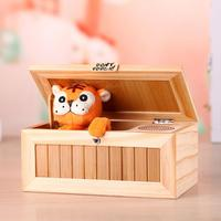 Saleaman Useless Box Machine Tiger Toy Gift with Sound Wooden Useless Box Leave Me Alone Box For relax anti Stress Drop shipping