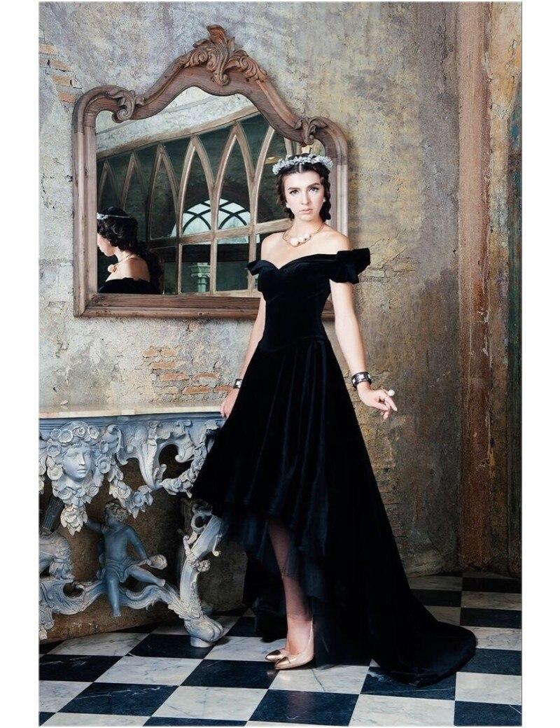 robe soiree Hot Sale Saudi Arabian abendkleider Black Velvet