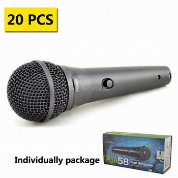 Free shipping , 20pcs sale shuretype PGA58-XLR  , PG ALTA 58 karaoke mic with On/off Switch ,PGA58 dynamic wired microphone