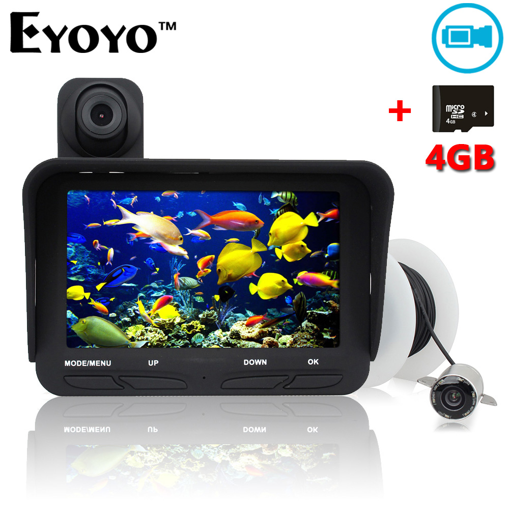 Eyoyo 20m Professional Fish Finder DVR Video Recorder 6 Infrared LED Underwater Fishing Camera+Overwater Camera+Free 4GB TF Card free shipping boblov 15m 7 lcd 1000tvl fish finder infrared fishing camera dvr recorder ip68