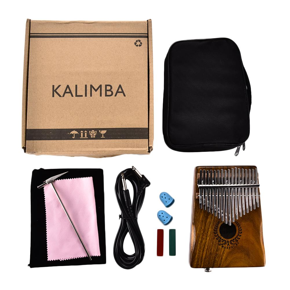 17 tasti EQ Kalimba Mbira Calimba Solido Acacia Pollice Pianoforte Altoparlante Collegamento Elettrico Pick-Up Con Il Sacchetto + Tuner Martello Per amante della musica