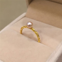 Vintage Women Pearl Ring 925 Sterling Silver Yellow Gold Plated Fashion Freshwater Pearl Fine Jewelry Elegant Lady Ring Female