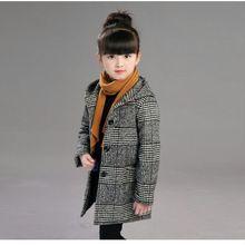 Г. Осеннее модное шерстяное пальто в клетку для девочек; зимняя куртка с капюшоном