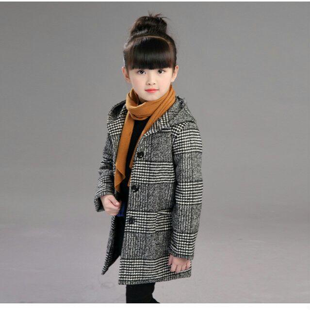 2019 Girls Autumn Fashion Plaid Woolen Coat Hooded Jacket Winter