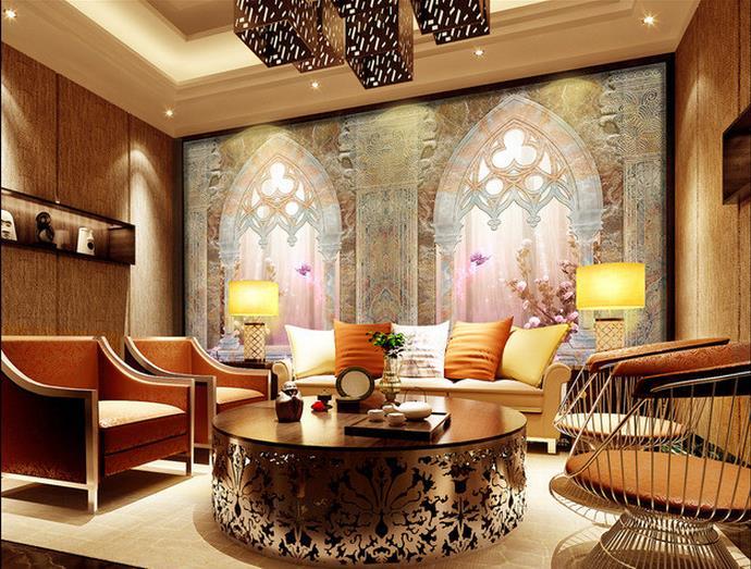3d Interior Wallpaper Hd Custom 3d Wallpaper Roman Column Double Door European