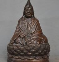"Ev ve Bahçe'ten Statü ve Heykelleri'de 9 ""Eski Tibet Budizm Bronz Je Tsongkhapa Guru Tsongkapa Namaz Buda Heykeli"