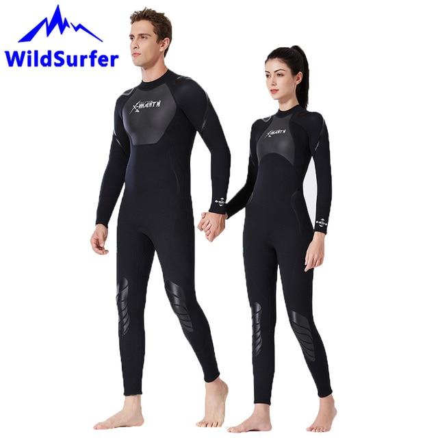 Triathlon 5mm Neoprene Siamese Scuba Diving Suit Front Zipper Long Sleeve Scuba Diving Suit Thermal Swimsuit for Diving Snorkeling Surfing Wetsuits Men