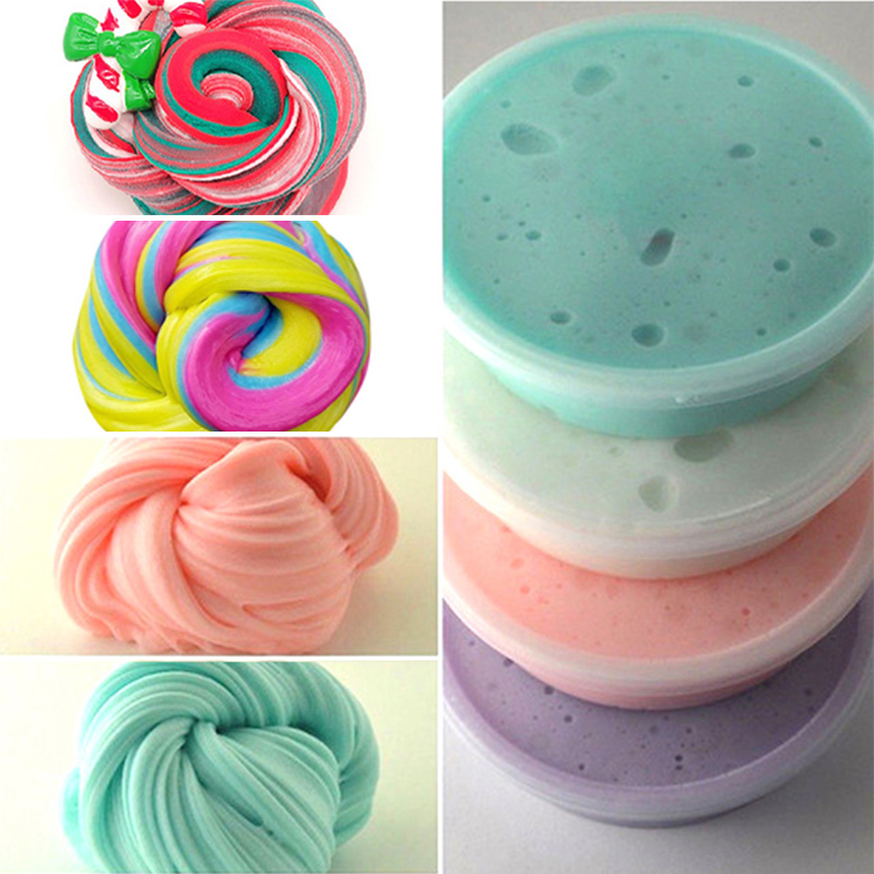 35g Macaron Color Fluffy Slime toys DIY Squishy kids Toy With Box polymer light soft Clay Modeling Clay plasticine cloud slime