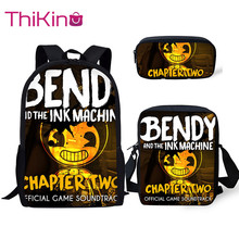 Thikin Bendy and Ink Machine 3Pcs/set Book Bags Children School Bag for Boys Backpack Teen Girls Kids
