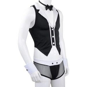 Image 2 - YiZYiF Erkekler Hizmetçi Kıyafetleri tenue seksi homme Eşcinsel Erkekler Cosplay Kostüm Tops Boxer Külot Iç Çamaşırı Yaka Kelepçe iç çamaşırı seti