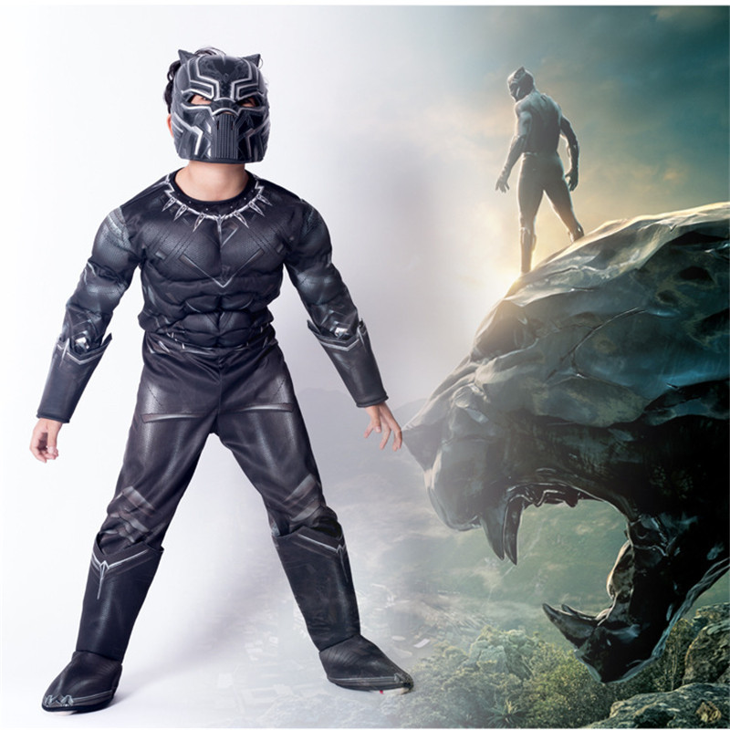 Black Panther Cosplay Kids Child Boy's Black Panther Muscle Costume Jumpsuit Bodysuit Superhero Halloween Cosplay Costume Outfit