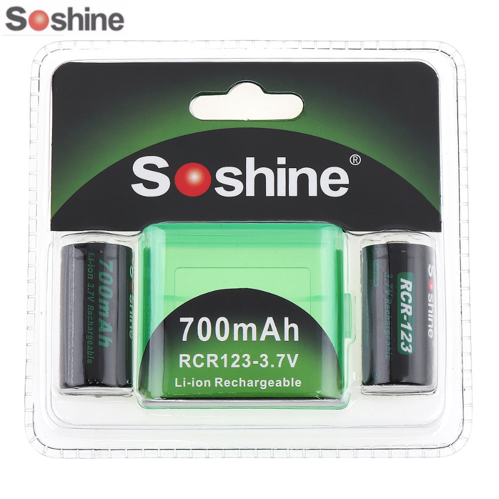 2PCS/Pack Soshine RCR123 16340 Battery 700mAh 3.7V Rechargeable Lithium Li-ion Battery With Battery Case Storage Box