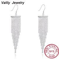 Valily Women 925 Sterling Silver Drop Earrings Long Chain Tassel Drop Earring For Women Vintage Earrings Jewelry Party Gift