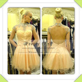 2016  Vestidos Short A-line Party Dress High Neck Sexy Key Hole Back Crystal Beaded Cap Sleeves Mini Cocktail Party Dress pg112
