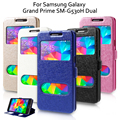 Para samsung galaxy grand prime sm-g530h coque casos cubierta de cuero case para galaxy grand prime capa doble bolsa de ventana de visualización Fundas