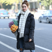 Women's Parkas Warm Coats With Hat Clothes For Female Casual Silm Black Long Coat For Winter Spring