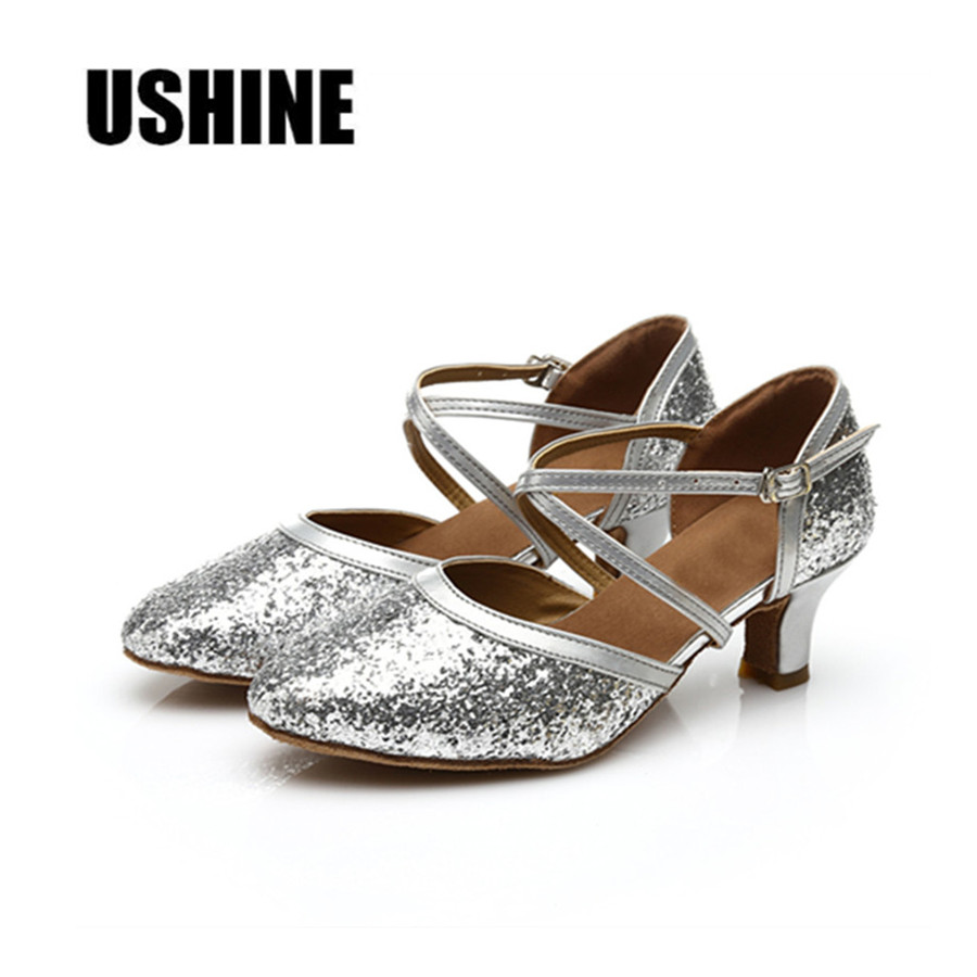 Free Shipping Hot Sale Silver Top PU Glitters Latin Dance Shoes Woman Salsa Ballroom Shoes Zapatos De Baile Latino Mujer 228