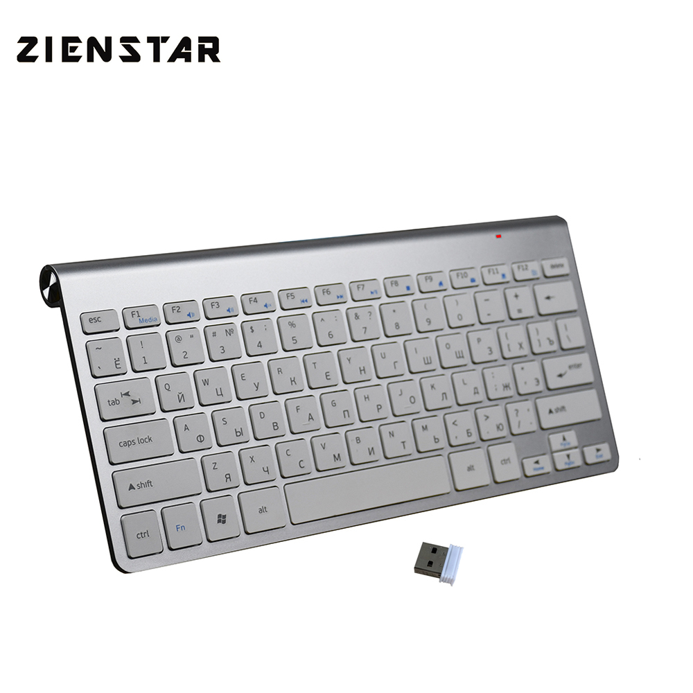 Zienstar Russian Letter Slim 2.4Ghz  Wireless Keyboard Mouse For MACBOOK,LAPTOP,TV BOX, Computer PC ,Smart TV With USB Receiver