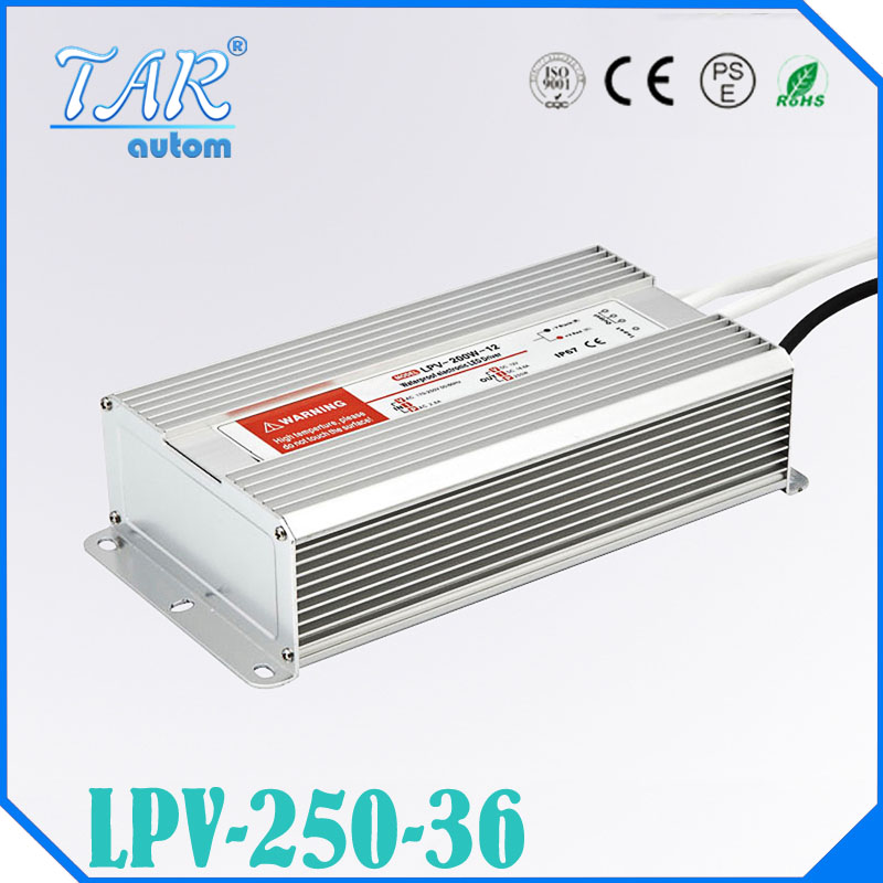 ФОТО 250W AC to DC 36V Waterproof IP67 Electronic Driver outdoor use power supply led strip transformer adapter for underwater light
