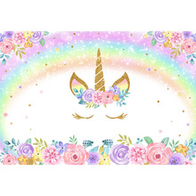 Unicorn Backdrop for Photography Rainbow Birthday Party Photo Background Newborn Baby Flower Backdrops Studio Supplies Props 10x16ft backgrounds newborn props and backdrops flower photography background baby for photo studio s140