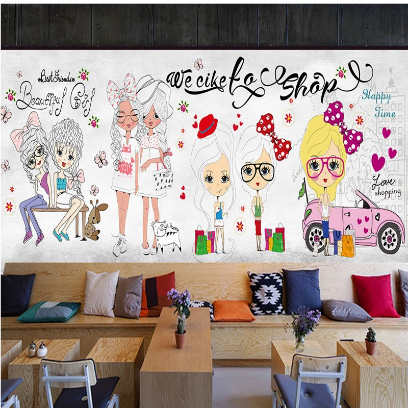 Photo wallpaper Fashion girl shopping mural clothing shop store background wall mural children room decoration wallpaper free shipping hepburn classic black and white photographs women s clothing store cafe background mural non woven wallpaper