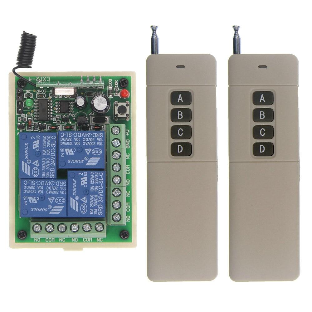3000M DC 12V 24V 4 CH 4CH RF Wireless Remote Control Switch System,2X Transmitter +Receiver,315/433.92 MHz,Self-lock Jog