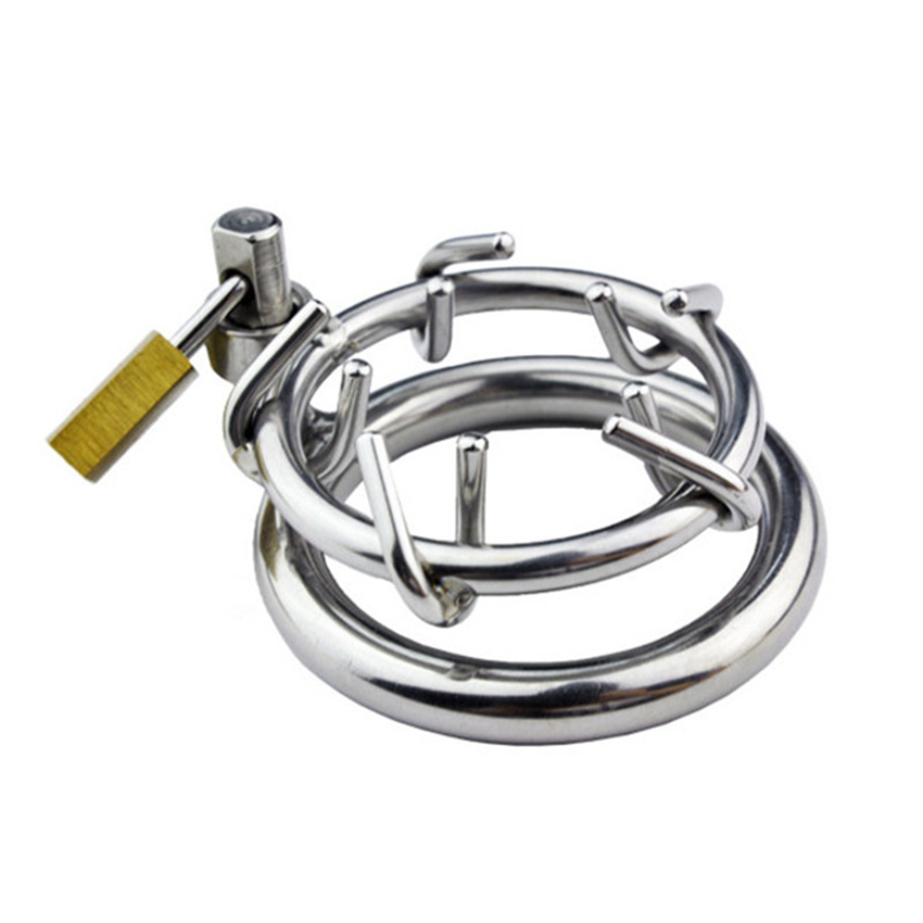 Stainless Steel Male Chastity Device Cock Ring Spikes Screw Locking penis Lock Cage With Lock Virginity Lock Sex Toys For Men new 10 4 length interactive with spikes head to head vibrating male masturbator penis cock sleeve device sex toys for men gay