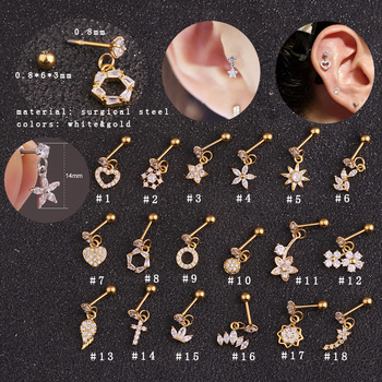 New arriva gold heart hexagon crystal tragus ear piercing plug stainless steel daith earrings helix cartilage studs