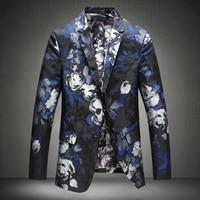 Mens Floral Blazer Hombre 2016 New Plus Size 4xl 5Xl Blazer Masculino Slim Fit Flower Blazer Printed Slim Gold Blazers for Men