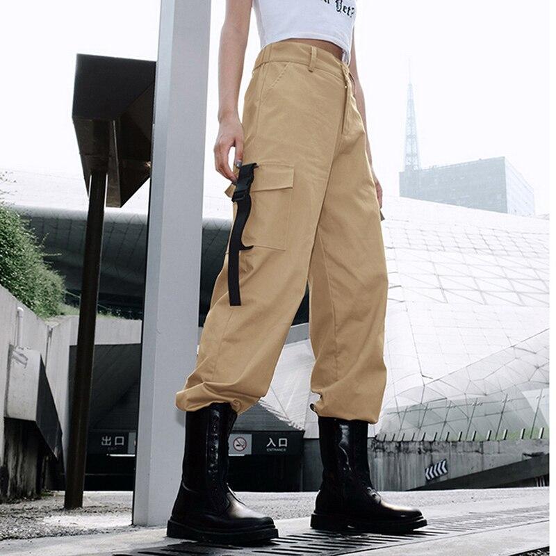 ADISPUTENT Streetwear Cargo Pants Women Casual Joggers Black High Waist Loose Female Trousers Korean Style Ladies Pants Capri 10