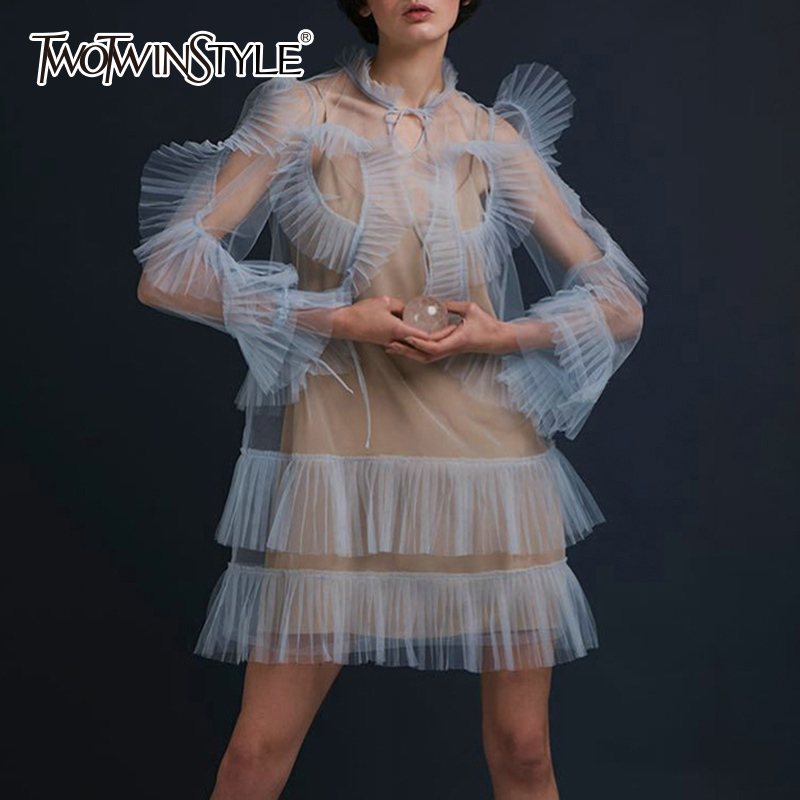 TWOTWINSTYLE Mesh Dress With Basic Spaghetti Strap Dresses Stand Collar Lace Up Ruffles Patchwork Mini Dresses