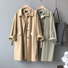 Travel Style Women Long Trench Coat 2020 Spring Autumn Outwear Loose Coat Khaki