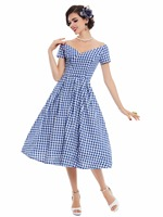 Sisjuly 1950s Vintage Dress Blue White Plaid Design Summer Dress Knee High A Line Retro