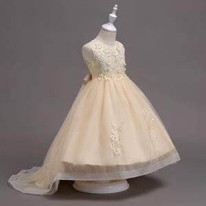 Image 4 - Rosa menina dama de honra casamento romântico vestido de festa elegante menina vestir se para participar da bola a refeição sagrada a cauda applique