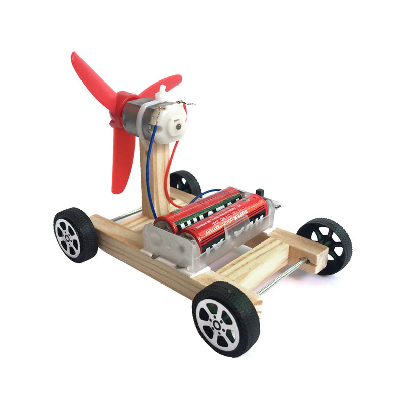 DIY Electronic Blocks Toy Assembled Toy Wooden Car Kids Aerodynamic Car Kids Student Science Educational Toy For Kids Gift
