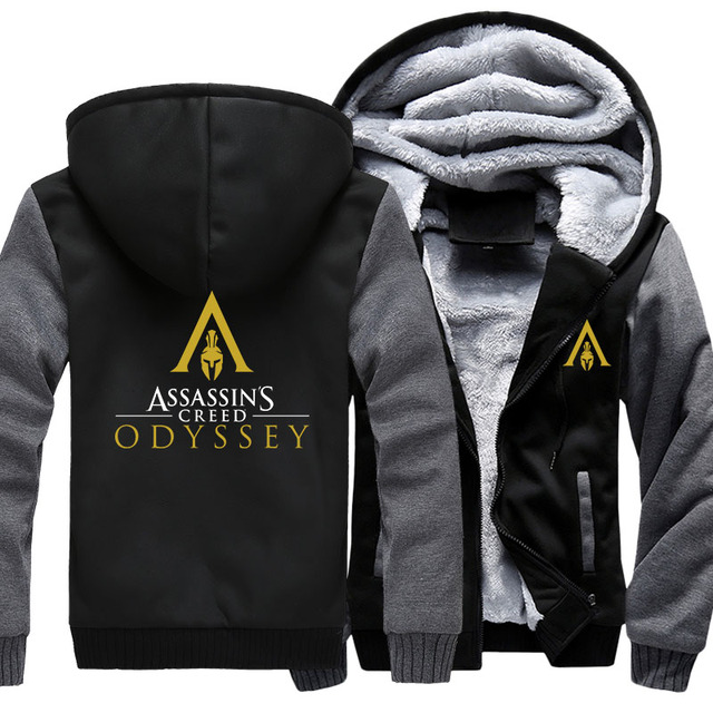 US size Men Women Game Assassin's Creed Odyssey Cosplay Hoodie Thicken Jacket Clothing Assassins Creed Coat Sweatshirts  2