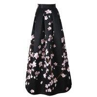 2018 New Satin Women 100cm High Waist Flared Maxi Skirts Peach Blossom Printed Pleated Floor Length Long Skirts Saias
