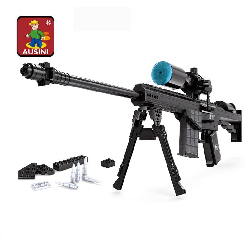 AUSINI Sniper Assault Rifle GUN Weapon Arms Model 1:1 3D DIY Building Blocks Bricks Children Kids Toys Gifts