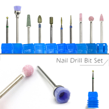 10pcs Nail Drill Bit Set Diamond Rotate Burr Cleaner Manicure Pedicure Electric Drills Grinding Stone Accessories Cutter SA394