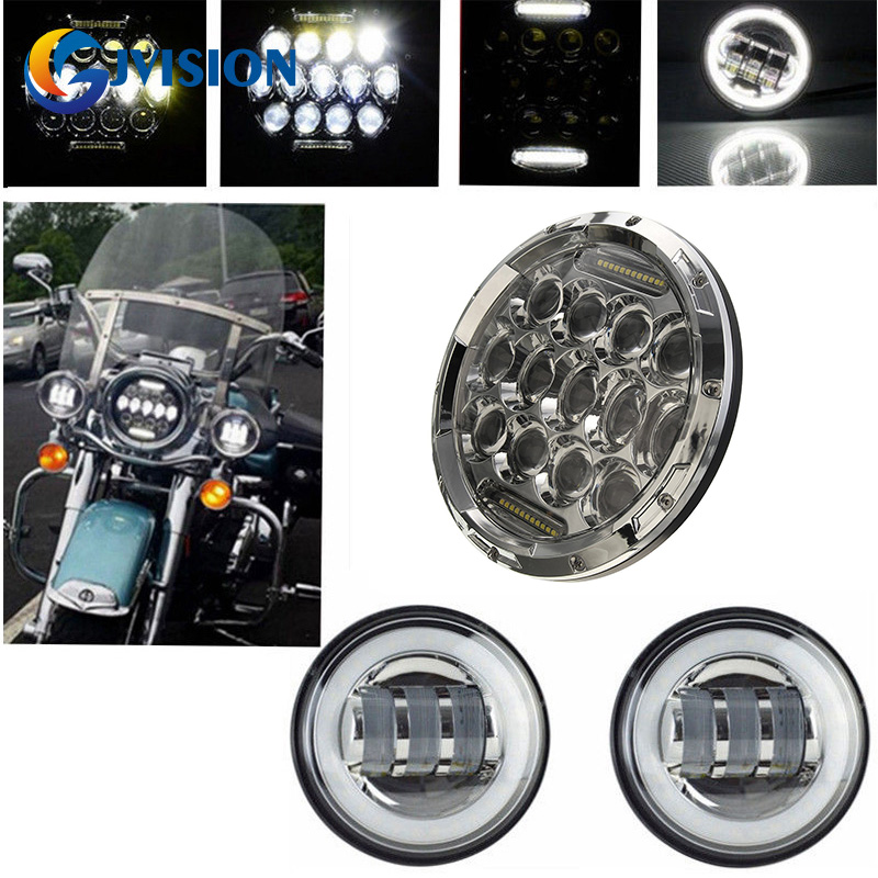 7 inch Round 75W Hi/Lo beam DRL Motorcycle Daymaker headlight + 4.5'' Chrome LED Fog light Halo angel eyes for Harley Davidson 6 inch led headlights eagle light hi lo beam halo ring angel eyes x drl for offroad jeep wrangler front bumper fog light