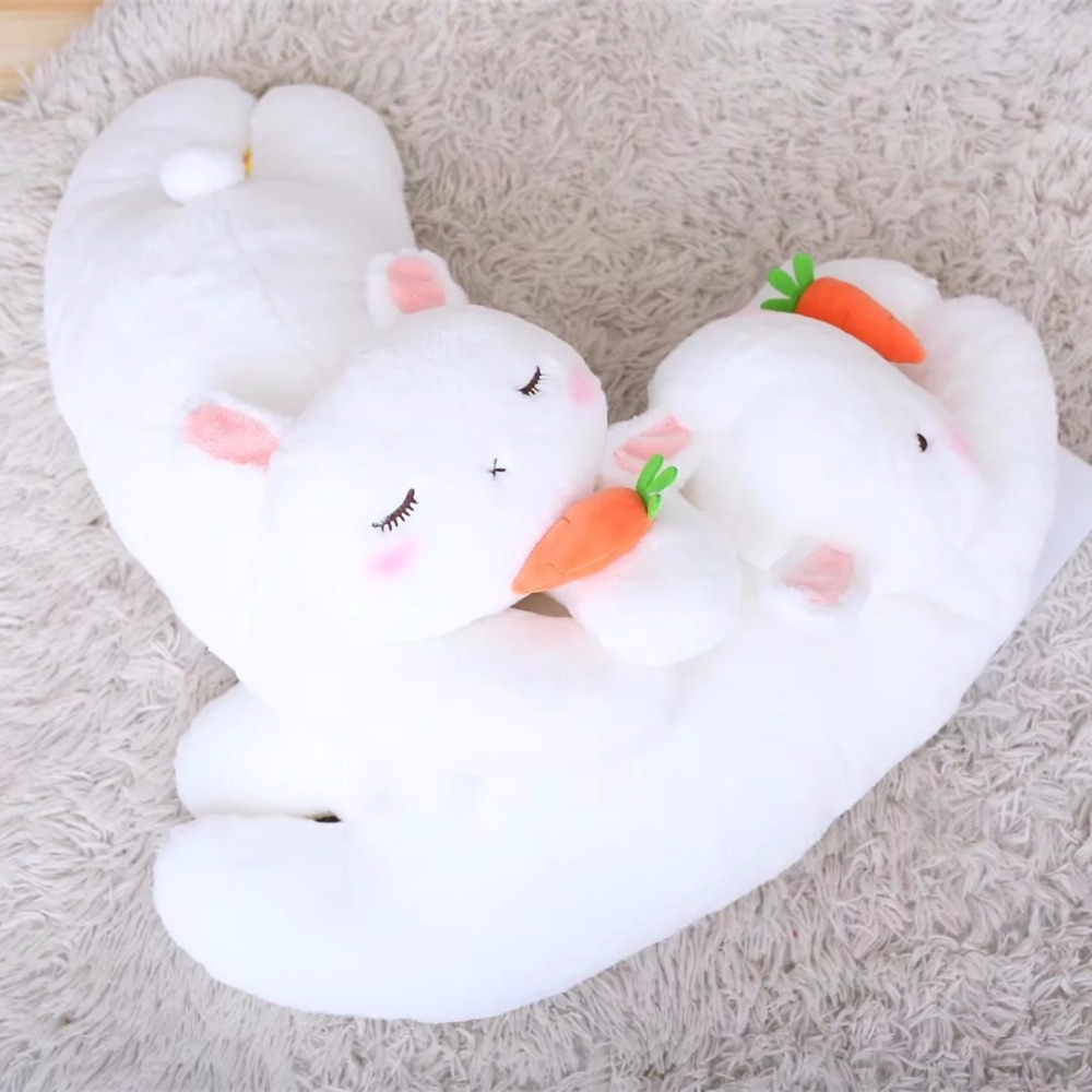 70cm Lovely Lying Rabbit with Carrot Stuffed Kawaii Rabbit Toys Dolls Cute Animal Toy Soft Pillow Sofa Cushion Nice Gift Toys 40 30cm pusheen cat plush toys stuffed animal doll animal pillow toy pusheen cat for kid kawaii cute cushion brinquedos gift