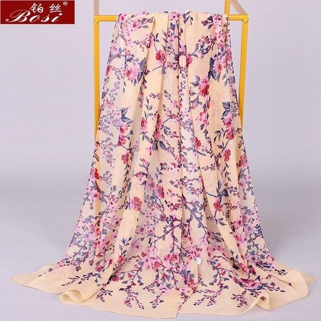 Chiffon scarf winter shawl schal scarves poncho women scarfs ethnic big flower hijab  scarfs luxury ladies retro schal160*60 new 3